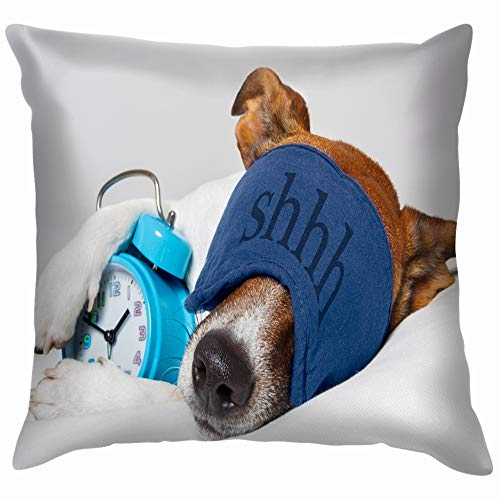 Dog Sleeping Alarm Clock Mask Animals Wildlife Sleep Healthcare Medical Pillow Case Throw Pillow Cover Square Cushion Cover 18X18 Inch