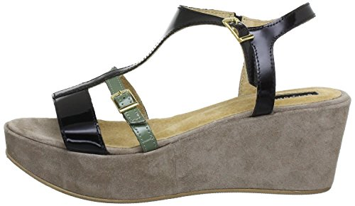 Belmondo, Sandali donna Nero black khaki grey, Nero (black khaki grey), 40