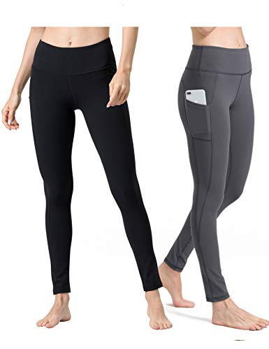ALONG FIT Sport Leggings mit Taschen Damen Sporthose Yogahose Fitnesshose Yoga Leggings für Damen, 2er Pack