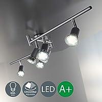 Faretti LED da soffitto orientabili I plafoniera moderna a bracci da soffitto per l'illuminazione da interno I 6 luci I corpo metallo, color titanio I incl. lampadine da 3W I 230V I GU10 I IP20