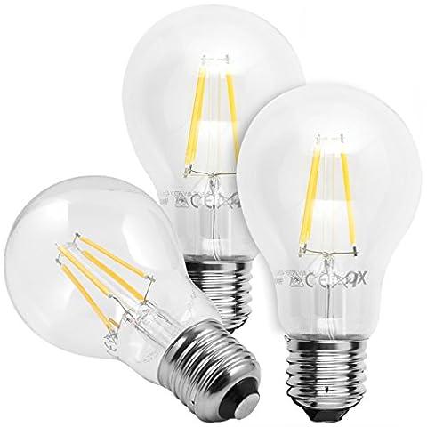 3x mumbi XQ-Lite LED-Lampe E27 4W / 2700 Kelvin / warmweiß / 450 Lumen / Energieklasse A++ (ersetzt E27 40 Watt Glühbirne)