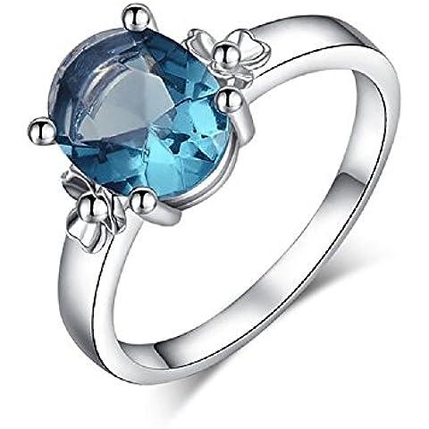 Bling fashion anello placcato in oro bianco 18K con diamante rosa, blu