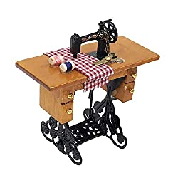 JKRTR Mini Sewing Machine with Thread For Wooden 1/12 Dollhouse Miniature Furniture