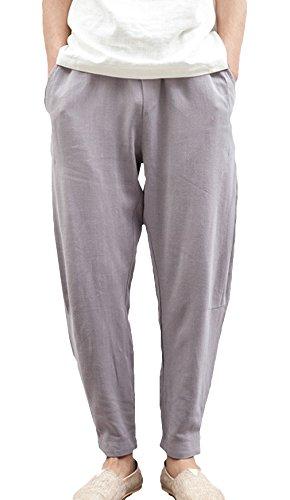 Lukis Herren Freizeithose Leinen Hose Jogginghose Strandhosen Grau Taille 72cm