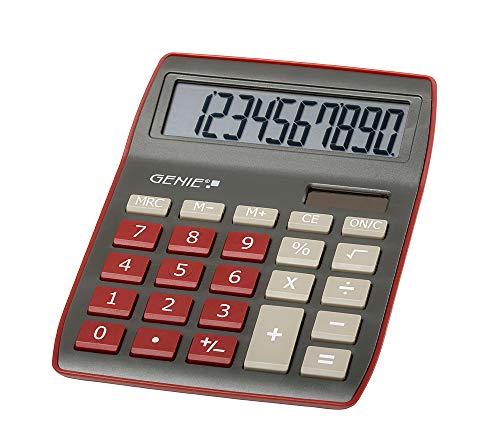 Genie 840 DR 10-stelliger Tischrechner, Dual-Power (Solar und Batterie), kompaktes Design, dunkelrot