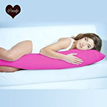 Coozly Premium Lumbar Body Pillow | Arm Curl Pillow | Back Support Pillow | Pregnancy Pillow with Cover (Fuschia, Full)