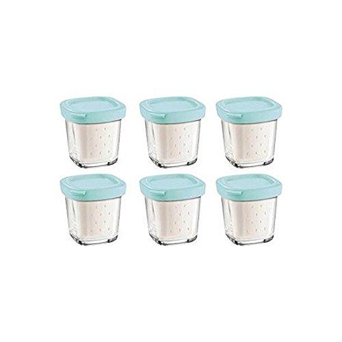 Seb XF100101 Joghurtgläser, 6 Stück, blauer Deckel, mit Abtropfgitter