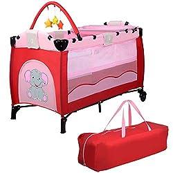 COSTWAY Reisebett klappbar | Babyreisebett Farbwahl | Kinderreisebett mit Rollen | Babybett | Kinderbett Inkl. Spielbogen/Tragetasche/Wickelauflage (Rosa)