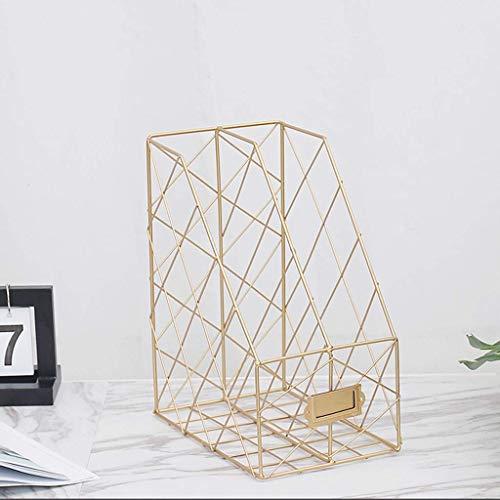 Cxmm Aktenhalter Aktenhalter Büro Schwarz Datei Bar Lagerregal Tisch Mesh Metall Student Multi-Layer Ordner Aufbewahrungsbox Regal Rack (Farbe: Gold, Größe: 30 cm * 16 cm * 24,5 cm) (Datei-ordner Schwarz Und Gold)