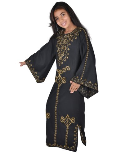 Egypt Bazar Kinder Kaftan schwarz-Gold in 70er Look (164)