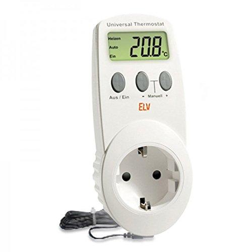 Conrad UT-200, elektronisches Universalthermostat mit Zwischenstecker, für Heiz- und Kühlbetrieb (-40 bis 99 °C) geeignet. (Kühlschrank Thermostat Steckdose)