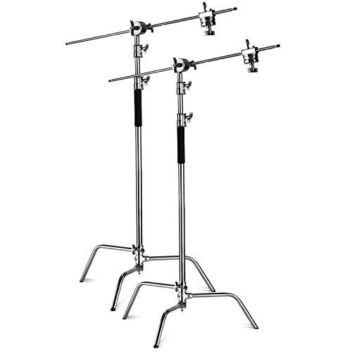 Neewer 2X Hochleistungs Max Höhe 3m Einstellbarer Lichtständer mit 1,2mr Haltearm und Griffkopf Set für Studio Video Reflektor Monolight und andere Fotoausrüstung Pro Monolights