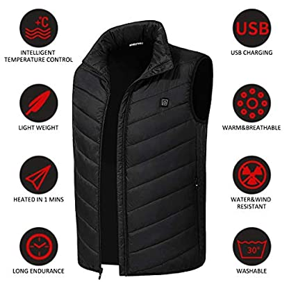 Freefa Electric Heated Vest USB Lightweight Size Right 5 Heating Zones Water Wind Resistant with Touchscreen Glove 8