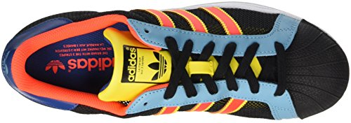 adidas Herren Superstar Sneakers, Schwarz (Core Black/Yellow/Vapour Blue F16), 45 1/3 EU -