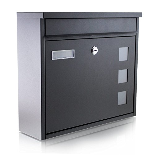 BITUXX® Wandbriefkasten Briefkasten Postkasten Mailbox Letterbox Hausbriefkasten Schwarz