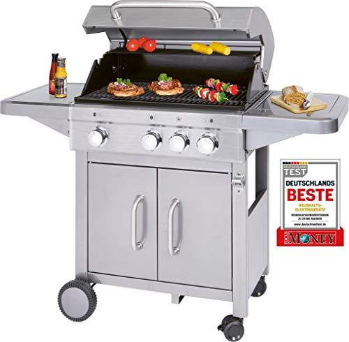 ProfiCook PC-GG 1180 Gasgrill inkl. Temperaturanzeige, 3 Edelstahl-Brenner + zusätzliche Kochstelle (3+1), 3 Heizzonen für indiv. Temperatursteuerung, großer Stauraum für 5 kg-Gasflaschen
