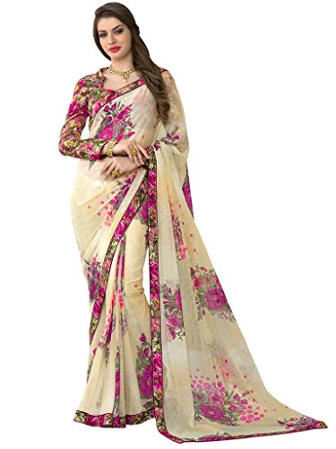 Sarees (Vastrang Sarees Women\'s Cream & Pink Color Beautiful Printed Pure Georgette Designer Party wear printed Saree with Art Silk Print Lace Border & same Border Matching Printed Art Silk Blouse_VS