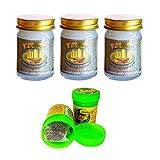 Thai LEMONGRASS Lot de 3 baumes de massage 50 g Blanc pur végétal + Hong Koo Herbal en thaïlandaise herbes et huiles essentielles Thai Wellness