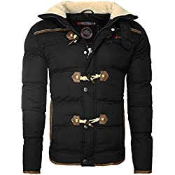 Geographical Norway Herren Winterjacke Dufflecoat Optik Steppjacke Ellenbogenpatches Innentaschen Reißverschluss