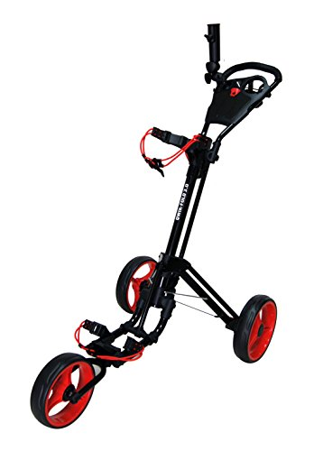 QWIK-FOLD 3 WHEEL GOLF TROLLEY PUSH PULL GOLF CART - FOOT BRAKE - ONE SECOND TO OPEN & CLOSE! (Black/Red)