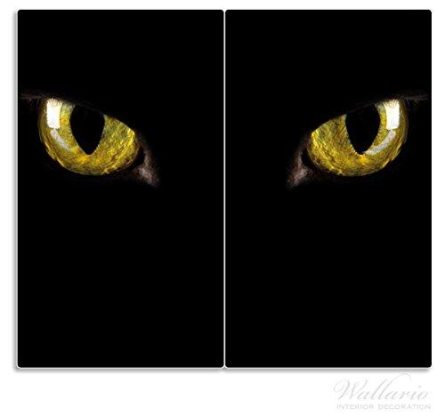 Wallario Herdabdeckplatte / Spritzschutz aus Glas, 2-teilig, 60x52cm, für Ceran- und Induktionsherde, Gelb leuchtende Katzenaugen bei Nacht