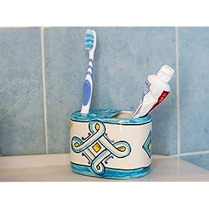 Handbemalter Zahnbürstenhalter aus Keramik