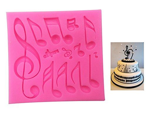 Fondant - Alfombrilla de impresión para tartas, diseño de notas musicales, silicona,...