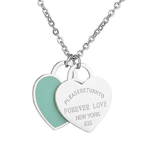Ciondolo in argento a forma di cuore doppio in acciaio al titanio e Titanio, colore: Green Enamel, cod. ForeverLoveDHGreen