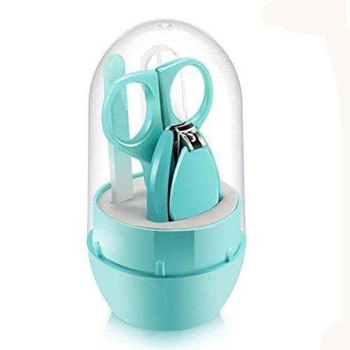 XISHU Baby Nail Care Set Neugeborene Baby Maniküre Steady Grip Nail Clipper, Schere, Pinzette und Nagelfeile , green