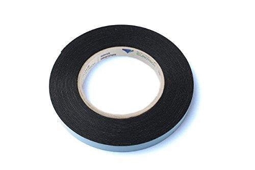 BONUS Eurotech 2BF42.61.0012/010A# Doppelseitiges Schaumstoffklebeband, Acrylklebstoff, Geschlossenzelliger Polyethylen, Länge 10 m x Breite 12 mm x Gesamtdicke 0,8 mm, Schwarz -