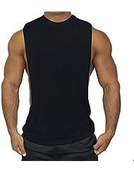 qiansheng para hombre algodón Modal gimnasio chaleco músculo Fit chaleco chaleco de entrenamiento deportes Baloncesto que absorbe la humedad camiseta de tirantes sin mangas para gimnasio T Shirt, negro, mediano