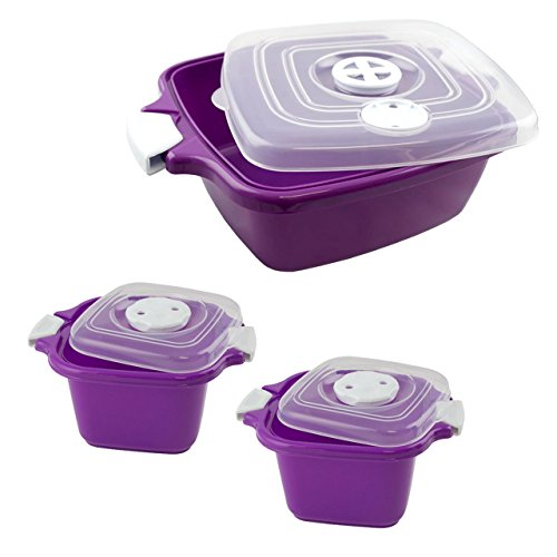 Lantelme 6057Family forno a microonde ciotola Set 3pezzi Plastica Colore Viola. Lavabile in lavastoviglie-Ciotole da 2x 0,5e 1x 1,8L