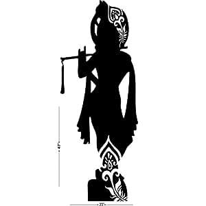 Studio Briana stehend Krishna mit Flöte Silhouette Wand Aufkleber auf Premium Vinyl 58,4x 119,4cm schwarz