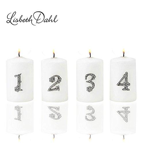 1 2 3 4 Adventsdekoration, Metall- Strass- Kristall Zahlen zum dekorieren von Kerzen (Adventskranz), Gestecken oder weihnachtlichen Dekorationen. Kerzenstecker, Kerzen- Pin ...