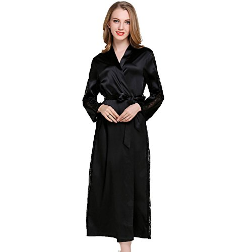 Donna Vestaglie Raso Kimono Accappatoio Lunga Pizzo Sexy Seta Elegante Camicia da Notte Vestiti Pigiama Nero