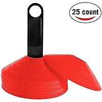 Reehut (conjunto de 25) Cono de Disco de Agilidad con Soporte de Plástico - Perfecto para fútbol americano, fútbol y cualquier juego de pelota para marcar - Mini Conos de de Disco para Entrenamiento - Marcadores de Campo rojo