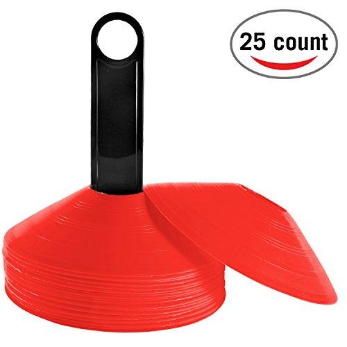 Reehut 25er Set Agilität Markierungsteller Kunststoffhalter - Perfekt für Fußball, Football und jedes Ballspiel zum Markieren - Dome Mini Trainingskegel - Feldmarker rot