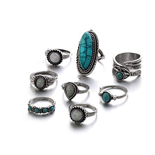 Ogquaton Premium 8 unids Vintage Plata Boho conjunto Knuckle Anillos Set Midi anillos regalo de la joyería para mujeres niñas