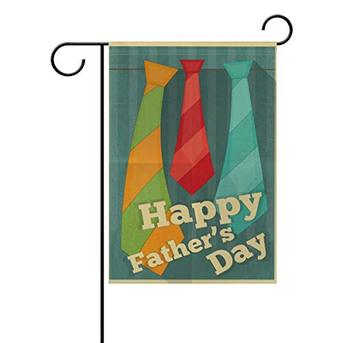 Confederate Flag Design (ASKYE Happy Fathers Day Poster with Ties Flat Design Polyester Garden Yard Flag Twin Sides, Daddy Papa Suit Tie Vintage Decorative Flag Banner for Outdoor Home Decor Party(Size: 28inch W X 40inch H))