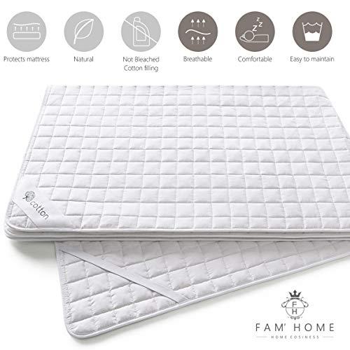 FAM Home Cotton Touch Protector de Colchon 160x200 con 4 Esquinas Elásticas I Cubre Colchon Transpirable, Hipoalergénico, Anti-bacteriano, Anti-acaros I Funda colchon para Cama Adultos y de Niños