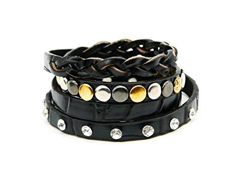 Wickelarmband Armband Schmuck Wraps Armschmuck geflochten Glitzer Strasssteine Nieten gold silber grau (8441) (schwarz-Zopfmuster)