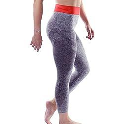 Sundried Leggings de yoga de mujer de 3/4 de longitud gimnasio, fitness y entrenamiento, mujer, gris, Large