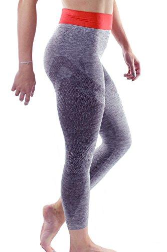 Yoga Leggings 3/4Länge Capri by Sundried Gym Damen Hose Fitness und Training Größe L grau (Silhouetten-yoga-hosen)