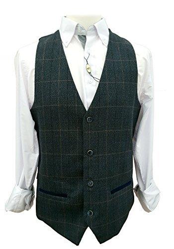 Uomo Marc Darcy Vintage Gilet A Quadretti - Scott Blu (46 - 116cm)