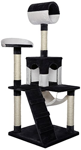 Dibea KB00357 Rascador para Gatos, 133 Cm, Árbol Escalador Arañar Juguete Negro y Blanco