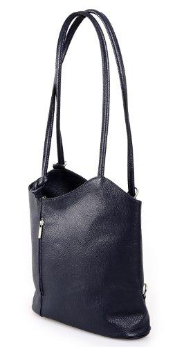 elegante Leder Handtasche Schultertasche Rucksack 2in1 Handtasche blau , 27-32x30x9 cm (B x H x T)