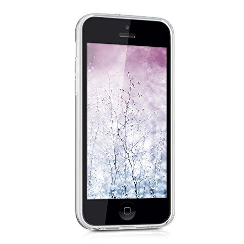 kwmobile Étui TPU silicone élégant et sobre pour Apple iPhone 5C en transparent soleil indien bleu rose foncé transparent
