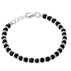 Shiyara Jewells 92.5 Sterling Silver Black Bead Crystal Nazariya Bangle for Boys and Girls