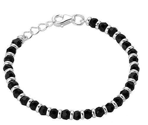 Shiyara Jewells 92.5 Sterling Silver Black Bead Crystal Nazariya Bangle for Boys and Girls