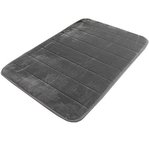 LiGG Memory Foam Badteppich Anti Rutsch Badematte Absorbent Badvorleger Badezimmerteppich Badematten Duschmatten (30 x 50 cm, Dunkelgrau)